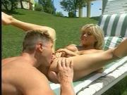 Hot blonde rides a hard cock outside and swallows his cock