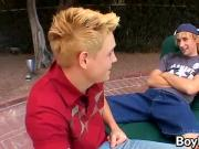 Blonde guys Jeremiah and Casey enjoying a poolside banging