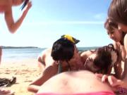 Squirting japanese babes suck cock on beach