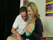 Huge boobs blonde Nikki Sexx tries her stepson Romeo Price white cock and loves getting cum