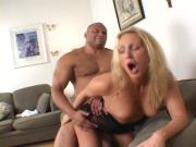 Blonde bored wife gets her ass minced by two huge black cocks