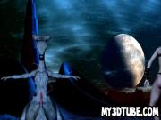 3D babe gets fucked by an alien monster on the moon