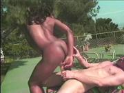 Cock sucking black babe gets her cunt filled with cock & face jizzed outside
