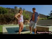 Sexy babe Mia Malkova fucked by the poolside and jizzed