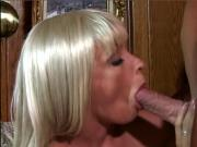 Gorgeous blonde slut toys her ass with a dildo before getting anally fucked
