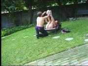 Cute sexy chick enjoys how her tight wet twat is being intensely rammed outdoors