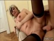 60yo blonde slut Alena enjoys a hard piece of young meat