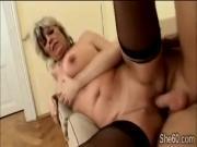 60yo blonde slut Alena enjoys a hard piece of young meat