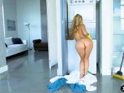 Mom likes to clean naked and gets caught by a younger guy