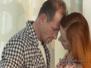 Redhead mom gets fucked in lingerie