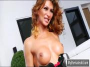 Busty tranny Gladys Adriane ass ripped