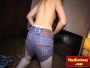 Horny ladyboy stimulates ass with dildo