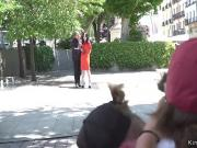 Euro slave in red dress fucking in bar