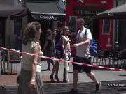 Slave caned by mistress in public