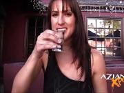 Sexy Brunette loves showing off her pussy in public at bar