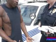 Estrogen fueled cops rage on black cock