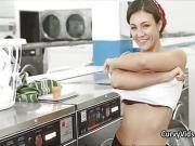Assy teen blows cock at laundromat