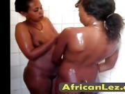 African lesbo couple taking a kinky shower and eating pussy