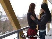 Hot lesbians licking in worm winter cabin