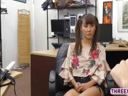 Hot asian chick Tiffany Rain recieves a hard pussy fuck
