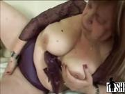 Nasty granny worships young dude's dick