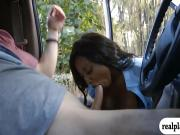 Huge breasts ghetto pounded in the van