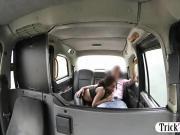 Ghetto slut sucks and fucks in the taxi to off her fare