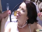 Massive boobs MILF in wedding dress Dped by huge cocks