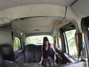 Hot ebony takes off clothes and fucks in fake cab