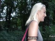 Blonde flashing ass in thongs outdoor