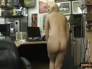 Slender blonde babe gets her pussy screwed by pawn dude