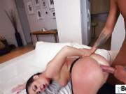 Dark hair babe shaved pussy doggy style with a long dong