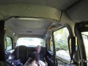 Slim brunette amateur gags huge dick in fake taxi