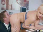 Kylie Page slurping on Danny Ds big cock in the office
