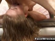 Choked Blonde Dirtbag Getting Her Face Smashed With A Dick