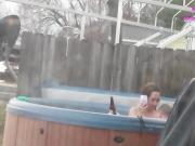 Couple caught fucking in hot tub