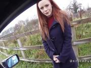 Redhead amateur beauty bangs fake cop in public