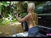 Super Hot Blonde Washing Car