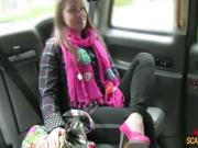 Brunette lady tries cowgirl position inside the taxi