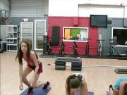 Naughty teens fucked by gym instructor after they gave a BJ