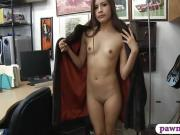 Tight babe in fur coat gets pounded by pervert pawn guy