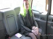 Colorful haired amateur bangs in fake taxi
