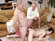 Old man hardcore threesome first time Frannkie goes down