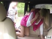 Tight blonde babe railed by fake driver in the backseat