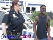 Blonde cops pleased with black dick