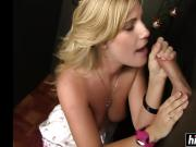 Blonde sucking and getting masturbating too with some nice long cock at the local gloryhole