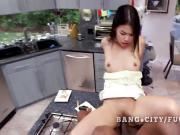 Petite asian rides a big black cock
