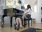 Piano teacher Ricky gave Chloe and Joseline his cock