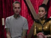 Mistress Veruca James pegging a guy