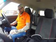 Fake driving school instructor bangs blonde